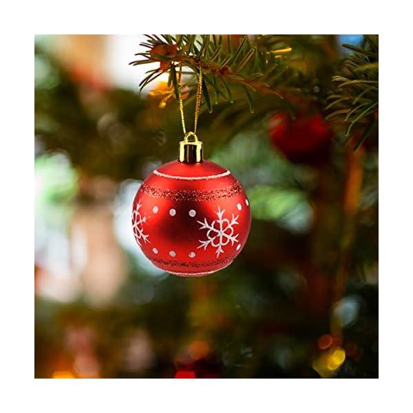 Jinlaili 6CM Palle di Natale Ornamenti, 12PCS Pallina Verniciata Palline di Natale Decorazione per Albero di Natale, Albero di Natale Palla Decorazioni per Alberi di Natale Addobbi Palle (Oro Rosso) 4 spesavip