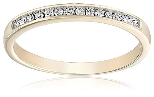 JewelsForum 10kt Yellow Gold Round Diamond Anniversary Ring (1/10 CTTW) Channel Setting Diamond Band Ladies (6)
