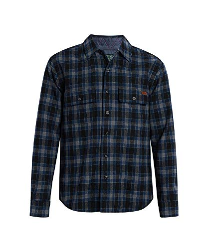 Woolrich Men's Bering Wool Plaid Shirt, Blue Charcoal, XX-Large ()
