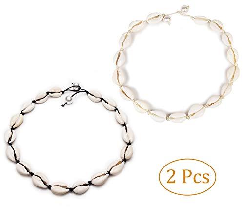 Black White Rope Chain Natural Seashell Pearl Choker Necklace Collar Necklace Shell Choker Necklace for Summer Beach Gift ()