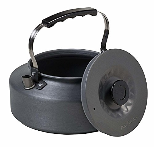(AceCamp Hard-Anodized Aluminum Tea Kettle, Compact Lightweight Cooking Outdoor Equipment, Portable Camping Teapot with Folding Handle, 1.6)