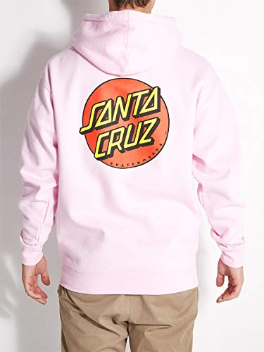 Santa Cruz Skateboards Classic Dot Hooded Pullover Sweatshirt (Light Pink, Small)