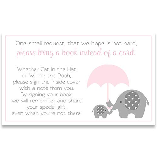 Little Peanut, Girl Baby Shower, Bring A Book, Bring A Book Inserts, It's A Girl, Girls, Baby Shower, Invites, Circus Baby Shower, Elephant Baby Shower, Pink, Gray, White, 24 Pack Bring A Book Inserts ()