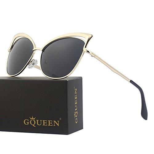 GQUEEN Women's Oversized Polarized Metal Frame Mirrored Cat Eye Sunglasses - Ray Cat