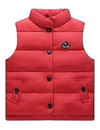 Happy Cherry Boys Girls Solid Vest Winter Lightweight Down Button Vest Baby Snowsuit