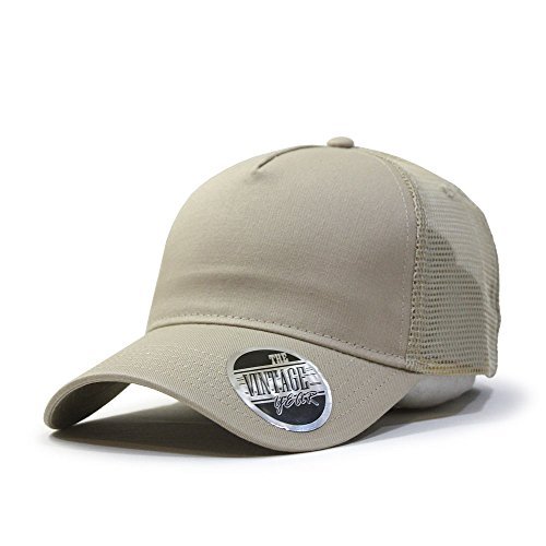 Plain Cotton Twill Mesh Adjustable Snapback Trucker Baseball Cap (Khaki) (Mesh Beige Hat)