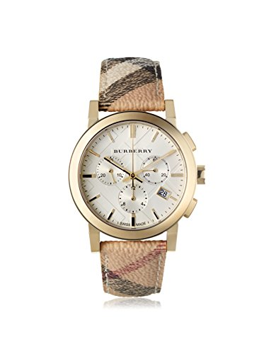 Burberry Women s BU9752 The City White Plaid Leather Watch