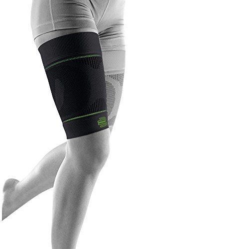 Bauerfeind Sports Compression Upper Leg Sleeves (1 Pair) (Black, Large/Long)