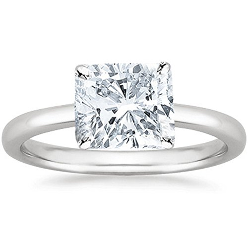 2 Carat GIA Certified 14K White Gold Solitaire Cushion Cut Diamond Engagement Ring (2 Ct D-E Color, SI1-SI2 (Si1 Cushion Cut Diamond Solitaire)