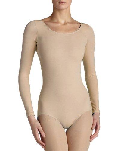 Ladies Long Sleeve Round Neck Bodysuit Womens Seemless Leotard Tops In UK 8-18 Beige