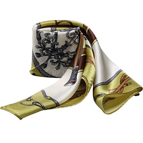 100% Silk Scarf Neckerchief Small Square Print Scarves Women (Classic Belts Green)