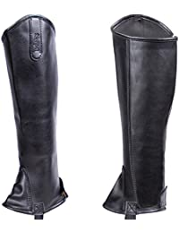 Half Chaps Equestrian, Black Leatherette with Low Maintenance and Easy Care, Perfect for Horseback Riding, for Men and Women, Durable Synthetic Leather(Unisex Halfchaps)