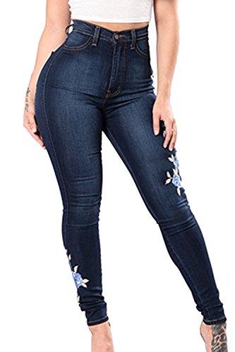 Fanvans Mujer Jeans Corte Ajustado Stretch Skinny Cintura Alta Pantalones Bordados Azul