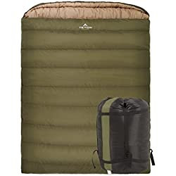 TETON Sports Mammoth 0F Queen-Size Double Sleeping Bag; Warm and Comfortable for Family Camping
