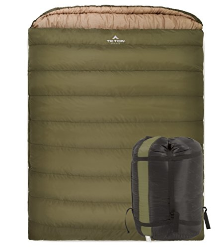 TETON Sports Mammoth 0F Double-Wide Sleeping Bag; Double Sleeping Bag Perfect for Base Camp while Cold Weather Camping, Backpacking, and Hiking; Green (Base Camp Storage)