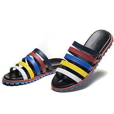 Sandalias de verano zapatos de hombre / Exterior / atléticos casual Zapatillas de cuero negro Negro