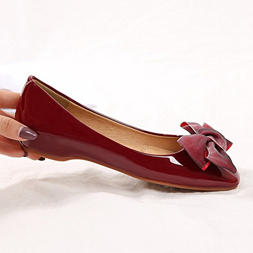T-july Femmes Casual Bowknot Slip-on Penny Mocassins Chaussures Plates Brillant Confort Classique Robe Chaussures Vin Rouge