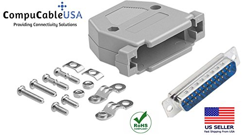 (CompuCablePlusUSA Best DB25 Male Solder Cup Connector Kit With Plastic Hood Best Complete DB25 Male Solder Type set Fix/Make/Assembly your own DB25 Cable)