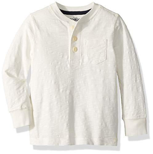 - Osh Kosh Boys' Toddler Pocket Henley Tees, White, 3T