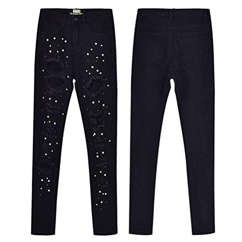 Zhhlaixing Irregolare Jeans Magro Nero Strappato Lungo Elastico Di Signore Pantaloni Denim Le Moda Ghette Fori Sottile rrwdBU