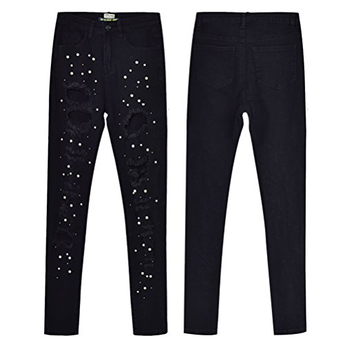 Jeans Minore Nero Denim Pants Matita Le Alta Zhuhaitf Stretch Signore Magro A Pantaloni Perline Vita Elegante OfaZqxZwd6