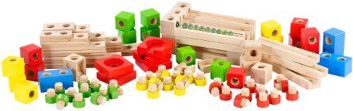 Playtastic Großer Kugelbahn-Bausatz aus Holz, 100-teilig