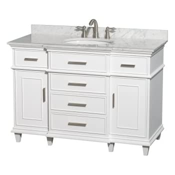 Wyndham Collection Berkeley 48 Inch Single Bathroom Vanity In White With  White Carrera Marble Top With White Undermount Oval Sink And No Mirror