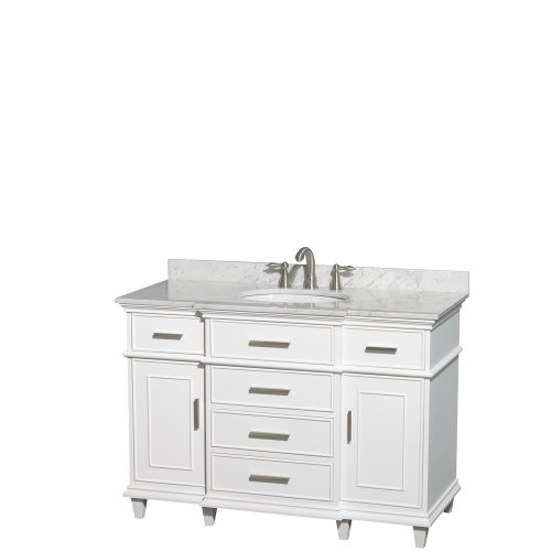 Wyndham Collection Berkeley 48 inch Single Bathroom Vanity in White with White Carrera Marble Top with White Undermount Oval Sink and No Mirror Review