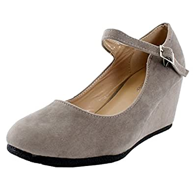 Forever Patricia-05 Mary-Jane Pumps-Shoes, Taupe Suede, 5