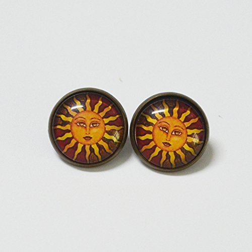(Ann corner gem) Sun Totem retro personality earrings magnet without pierced ear clip brooch ring