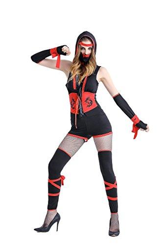 Dragon Ninja Costume Women (SS-Costume Sakura-S Japanese Women's Red Dragon Sexy Ninja 4 Piece Costume Set with Mask)