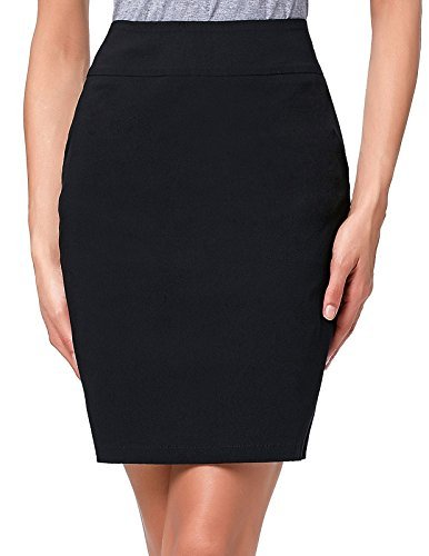 Kate Kasin Elastic Office Wear Above Knee Women Pencil Skirt Size S KK276-1 (Black Pencil Skirt Pockets)