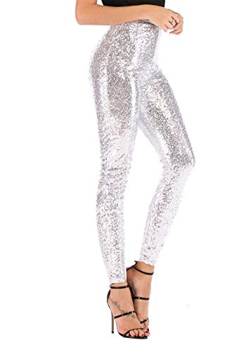 Yissang Women's All Sequined Sparkle Party Stretchy Leggings Bling Tights High Waist Pants Silver X-Large ()
