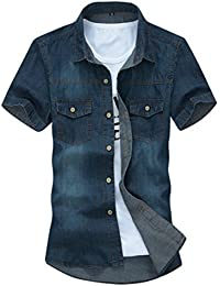 New Mens Casual Short Sleeve Denim Shirt Luxury Stylish Wash Slim Fit Shirts (Dark Blue)