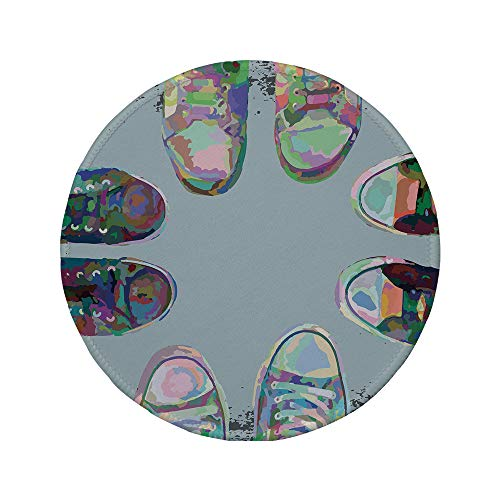 d Mouse Pad,Modern Decor,Teen Rubber Rebel Rocker Shoes in Street Squad Friends Gang Abstract Image,Multicolor,11.8