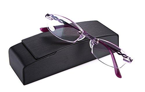 SOOLALA Womens Tinted Purple Lens Diamond Cut Edge Rimless Reading Glasses with Rhinestones, - Glasses Designer Wholesale Reading