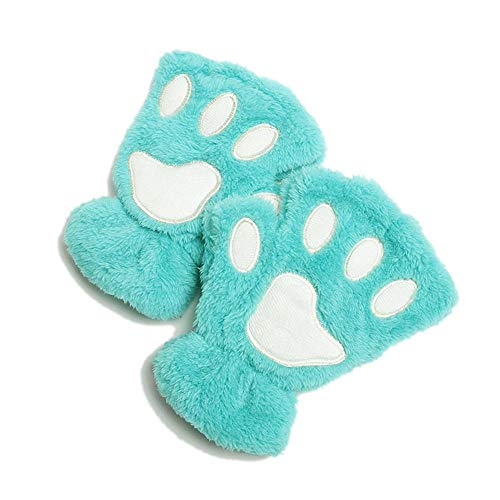 DraFenn Women Animal Paw Gloves Fingerless Fluffy Bear Plush Paw Mittens Novelty Halloween Soft Gloves,Color 12,One Size ()