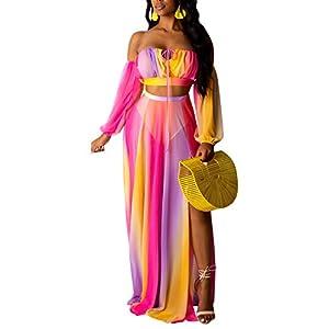 SAMACHICA Womens 2 Piece Dress Sexy Off Shoulder Strapless Crop Top See Through Side Split Maxi Skirt Set