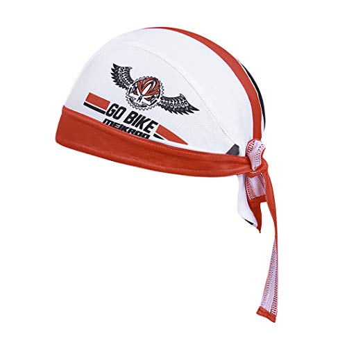 Skull Cap Motorcycle Helmet Liner Biker Head Wrap Cover Scarf Pirate Hat Bandana Running Beanie Cap (White Red) -