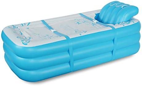 背もたれ付きバスタブ、大人/子供用プラスチック折りたたみ式インフレータブル浴槽インフレータブルバスバレル,ブルー
