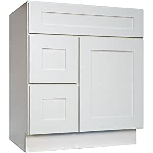 Everyday cabinets 30 inch bathroom vanity single sink cabinet in white shaker with soft close for Bathroom vanities 30 inch with drawers