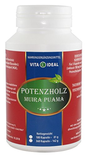 POTENZHOLZ Muira puama 180 Kapseln je 400 mg mit rein natürlichen Pulver, ohne Zusatzstoffe