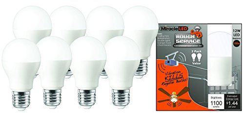 - MiracleLED 604051 Led 100W Household Replacement Light Bulb (8-Pack) Rough Service, Daylight Bright White, 8 Piece