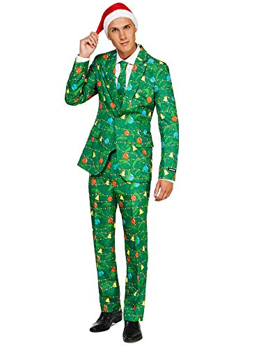 Suitmeister Christmas Suits for Men in Different Prints - Ugly Xmas Sweater Costumes Include Jacket Pants & Tie + Free Hat -
