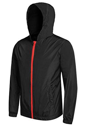 Dog Raincoats Coats - Detailorpin Men's Waterproof Rain Jacket Lightweight Hooded Outdoor Running Cycling Packable Raincoat
