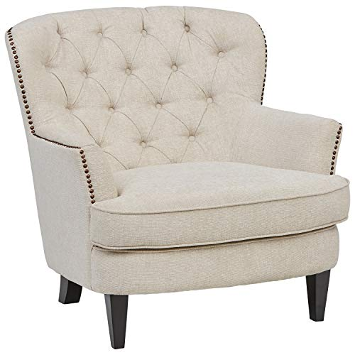 "Ravenna Home Semple Button Tufted Nailhead Trim Accent Chair, 33""W, Linen"