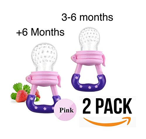 Baby Food Feeder Pacifier 2 pcs, Baby Fruit Net, Fresh Food Feeding Nipple, Fruit Teether, Silicone Feeder with Fresh Food (Pink) from Alaa's