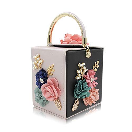 La Tote Con Perla Sacchetto Semplice Confezione Ricamo Quadrato Cena 4 Fashion Per Ffllas Fiore 7fEwCq