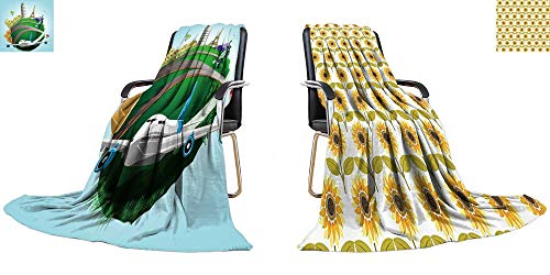 (YOYI-home King Flannel Blanket Vector Travel Green Planet with Plane and World's Famous Landmarks Weave Pattern Extra Long Blanket 70
