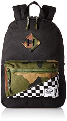 Herschel Heritage Kids Children's Backpack, Black/Checker/Woodland Camo, One Size
